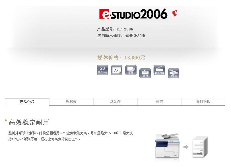 东芝2006a3复印机,机型小巧