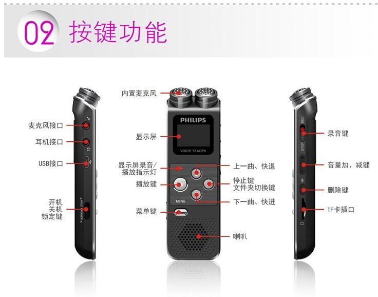 超薄8g高清降噪双立体声变焦麦克风录音