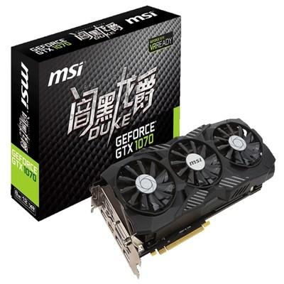 微星 GeForce GTX 1070 DUKE 8G三风扇 炫 彩RGB灯!碳纤维纹理背板!