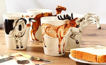 【3d纯手绘陶瓷立体动物杯